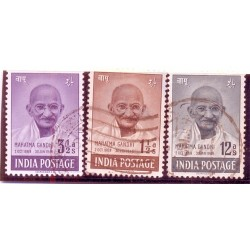 INDIA 1948- Mahatma Gandhi Mourning Issue- Set of 3, Used-S.G. NO. 305-307