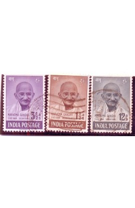 INDIA 1948- Mahatma Gandhi Mourning Issue- Set of 3, Used-S.G. NO. 305-307