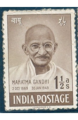 PHILA286 INDIA 1948 SINGLE MINT STAMP OF MAHATMA GANDHI MOURNING 1.5 ANNA MNH