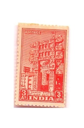 INDIA 1951-3 As Sanchi Stupa Gate-Archaeological Series-1 Value-MNH