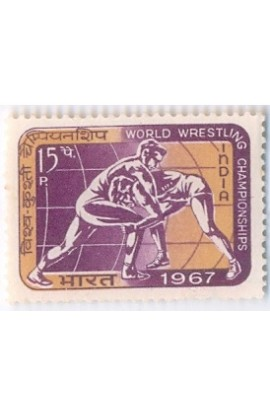 PHILA453 INDIA 1967 SINGLE MINT STAMP OF WORLD WRESTLING CHAMPIONSHIPS MNH